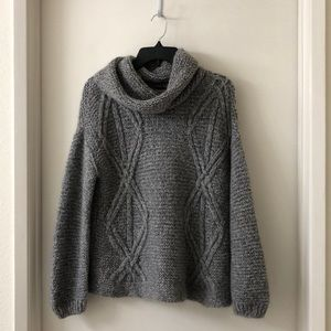 Zara Cable Knit Gray Turtleneck Chunky Sweater - M